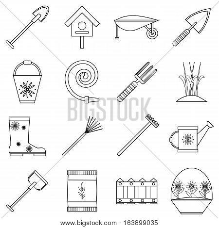 Gardener tools set. Outline illustration of 16 gardener tools vector icons for web