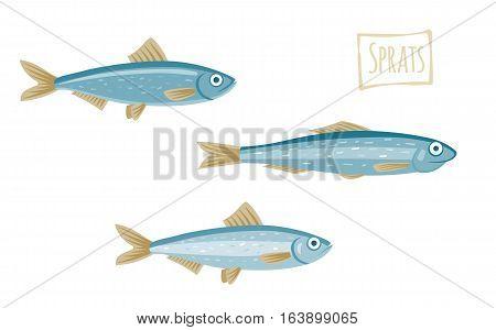 Three little sprats, vector  illustration cartoon style