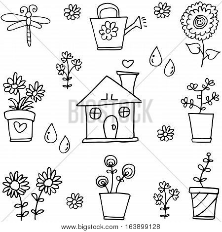 Vector illustration of spring doodles collection stock
