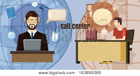 Call center dialog concept. Cartoon illustration of call center dialog vector concept for web