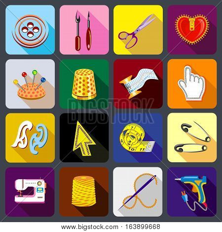 Tailor tools icons set. Flat illustration of 16 tailor tools vector icons for web