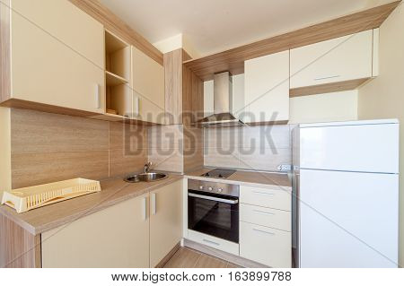 New wooden kitchen interior with appliances. Interior photography