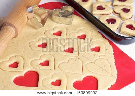 Valentines day Cookies. Cooking homemade cookies. Festive cookies