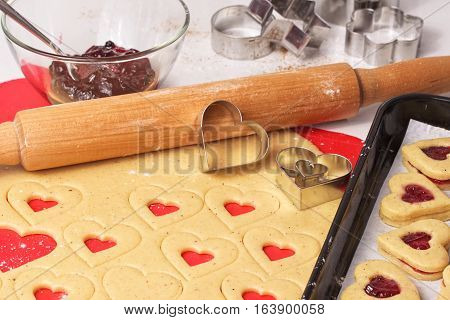 Cooking homemade cookies. Valentines day Cookies. Festive cookies