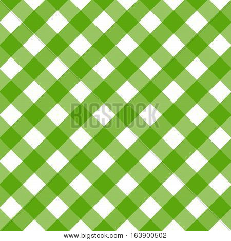 Traditional tablecloth pattern. Checkered tablecloths pattern green. Background of diagonal