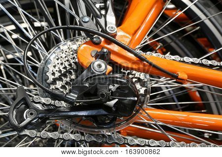 Set Of Rear Sprockets And A Derailleur Of A Bicycle