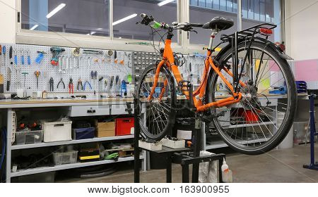 Well-equipped Workshop For Repairing Bicycles