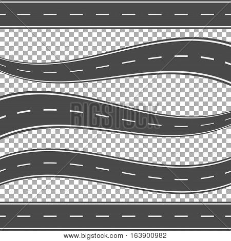 Winding curved road or highway with markings. Direction, transportation set