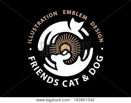 Cat and dog friends emblem, logo design