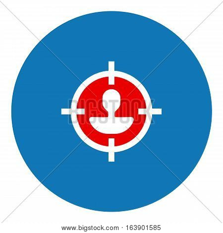 Segmentation illustration - Flat design icon - filled circle blue red and white