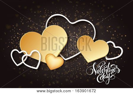 Vector happy valentines day lettering with golden hearts.