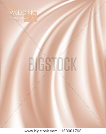 vector illustration of smooth elegant luxury cream silk or satin texture. Can be used as background.