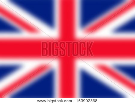 Blurred red, white and blue UK Union Jack flag background
