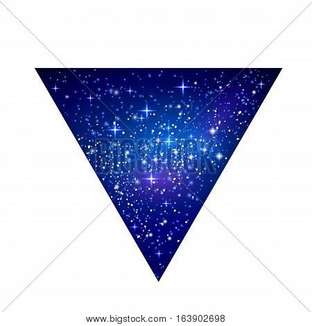 Outer space starry design in the shape of triangle isolated on white background