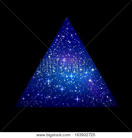 Outer space starry design in the shape of triangle isolated on black background