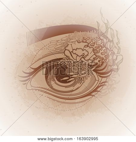 Abstract graphic eye decorated with seaweed and corals. Sacred geometry. Tattoo art or t-shirt design. Vector illustration isolated on vintage background