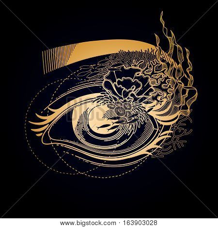 Abstract graphic eye decorated with seaweed and corals. Sacred geometry. Tattoo art or t-shirt design. Vector illustration in gold colors