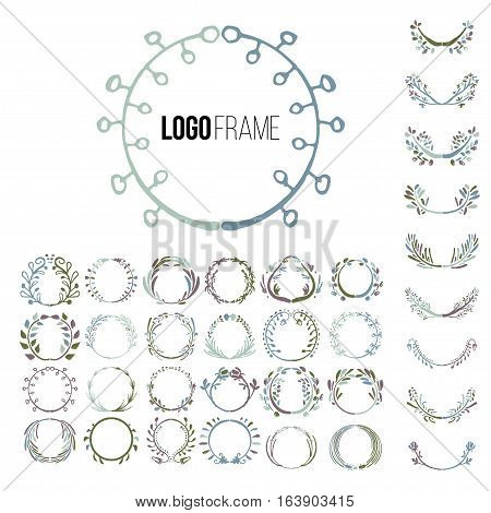 Logo creator circle. Set of vector elements for your logo. The unique shapes of handmade