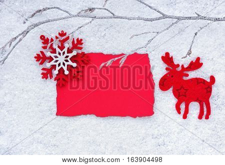 Christmas Background With Space For Your Text. Greeting Card With Decorative Elk And Snowflake On A