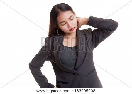Young Asian Woman Got Neck Pain.