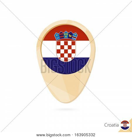 Map Pointer With Flag Of Croatia. Orange Abstract Map Icon.