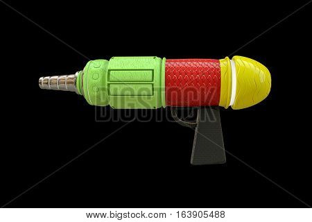3d illustration of plastic space gun isolated on black background