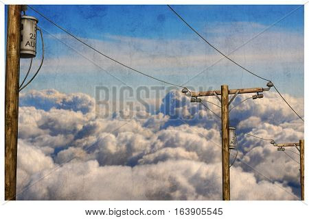 3d illustration of telephone poles in the sky