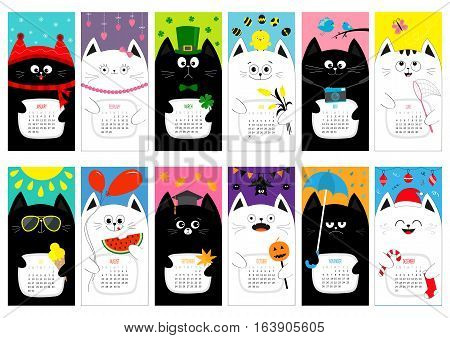 Cat vertical monthly calendar 2017. All month. Cute funny cartoon character set. Happy Valentines St Patrick day Christmas Easter Egg Bird Chicken Umbrella rain. Santa hat sun Flat design Vector