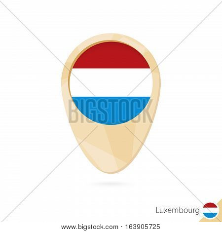 Map Pointer With Flag Of Luxembourg. Orange Abstract Map Icon.