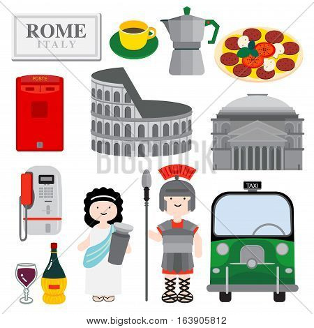 Rome the city with historical icon is illustrated through architecture people food and public objects to show how lovely the city is.