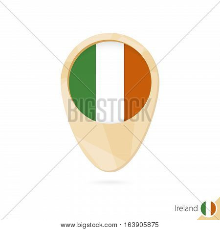 Map Pointer With Flag Of Ireland. Orange Abstract Map Icon.