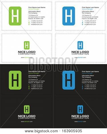 business card with the letter H, green and blue colors
