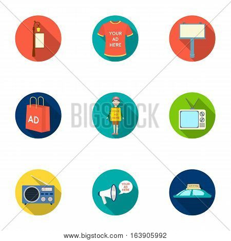 Advertising set icons in flat design. Big collection of advertising vector symbol stock illustration