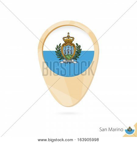 Map Pointer With Flag Of San Marino. Orange Abstract Map Icon.