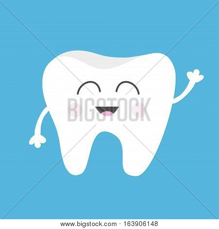 Tooth health icon. Cute funny cartoon smiling character with hands. Oral dental hygiene. Children teeth care. Baby background. Flat design. Vector illustration