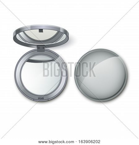 Vector Silver Metal Round Pocket Cosmetic Make up Small Mirror Isolated on White Background