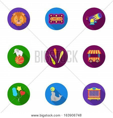 Circus set icons in flat style. Big collection of circus vector symbol stock