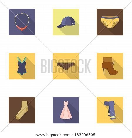 Clothes set icons in flat style. Big collection of clothes vector symbol stock