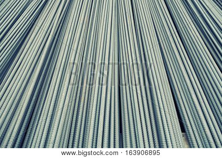 Storage steel rebar for reinforcement concrete at construction site.