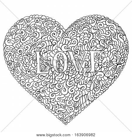 Love Valentines Day Composition In Doodle Style. Hand Drawn, Ornate, Decorative, Tribal, Design Elem