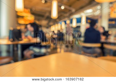 Dining room in department store on blur scene.