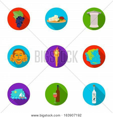 Greece set icons in flat design. Big collection of Greece vector symbol stock illustration