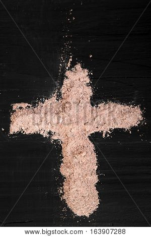 Cross of ashes - symbol of Ash Wednesday