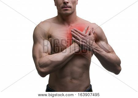 Heart attack middle aged muscular man with chest pain isolated on white background with red dot