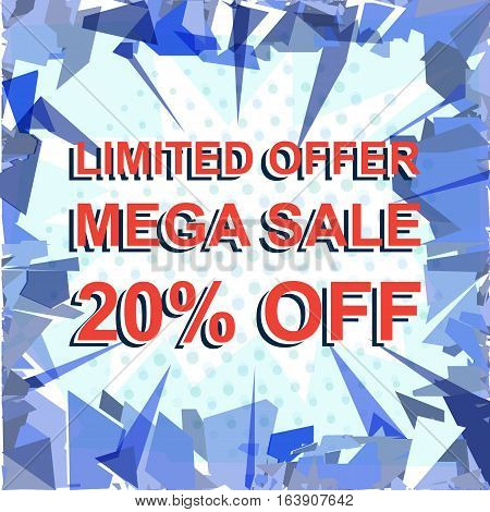 Red Striped Sale Poster With Limited Offer Mega Sale 20 Percent Off Text. Advertising Banner