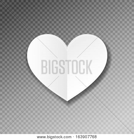 white paper heart shape origami with shadow on transparence background to valentines day design, vector illustration eps 10