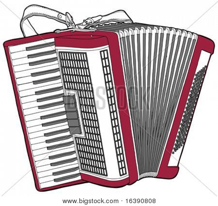Concert Accordion isolated on a white background