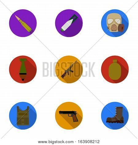 Military and army set icons in flat design. Big collection of military and army vector symbol stock illustration