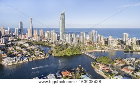 Aerial view of Gold Coast Surfers Paradise and waterways