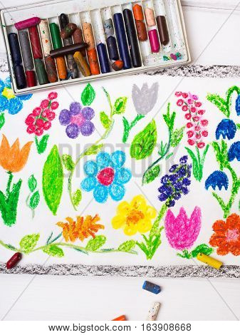 colorful drawing - miscellaneous types of flowers